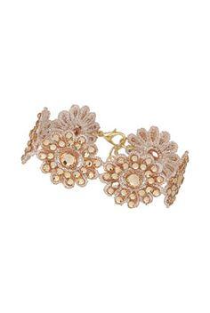 Crochet Flower Bracelet ~ Rose Gold Jewelry ~ Topshop