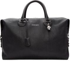 Alexander McQueen - Black Striped Strap Duffle Bag
