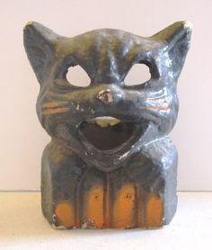 Mrroww! [scary cat growl/meow] - Vintage Halloween lantern