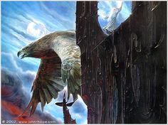 Gwaihir rescues Gandalf from Orthanc. Lord of the Rings illustration.