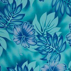 Samoan Design Cotton Print Fabric- Tropical Hibiscus Flowers