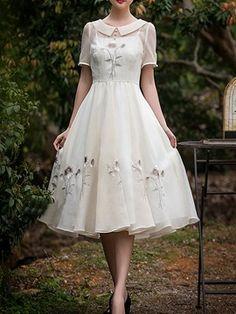 Ericdress Embroidery Peter Pan Collar Casual Dress
