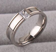 Titanium Stainless Steel Plain Ring CZ Size 17-21 Silver Wedding Men Women Gift