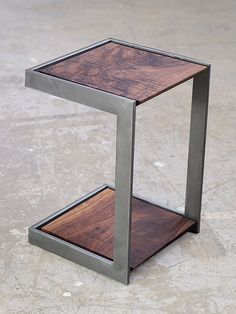 Suspended  Wood and Metal End Table Modern