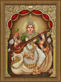 Tanjore Painting - Ganjan Saraswathi (A Contemporary Rendition of Lord Saraswathi) Mysore Painting, Kerala Mural Painting, Tanjore Painting, Krishna Painting, Krishna Art, Saraswati Goddess, Goddess Art, Shiva Shakti, Lord Saraswati