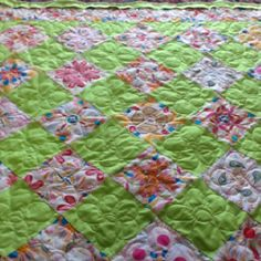 Lauren's most recent quilt - she quilted by herself on my long arm - age 9!!!