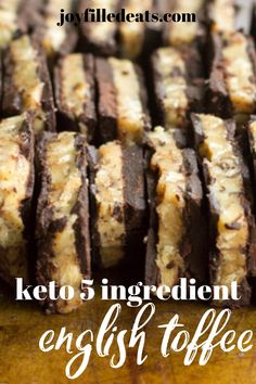 Homemade keto toffee is so easy but so satisfying. It looks and tastes like the expensive toffee bark in fancy chocolate shops. My buttery walnut toffee candy has only 6 ingredients and takes minutes. Even if you've never made candy before you can make this. Make it with any nuts you like! Low Carb Candy, Keto Candy, Low Carb Sweets, Low Carb Desserts, Healthy Dessert Recipes, Keto Snacks, Low Carb Recipes, Real Food Recipes, Xmas Recipes