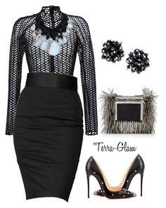 """""""We Come, We Slay, We Leave"""" by terra-glam ❤ liked on Polyvore featuring David Koma, Rock & Republic, Monies, Christian Louboutin, Jimmy Choo and c.A.K.e. by Ali Khan"""