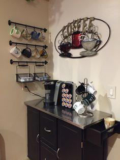 Coffee Bar - Art from Kirklands; Mug Rack from Ikea; Cart from JC Penney