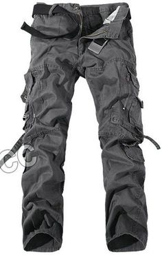 Top Fashion Multi-Pocket Solid Mens Cargo Pants Plus Size Men Trousers