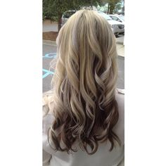 Need this hair in my life.  Blonde hair on top brown underneath with layers.