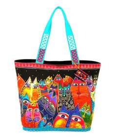 This+Black+&+Orange+Fantasticats+Large+Tote+by+Laurel+Burch+is+perfect!+#zulilyfinds