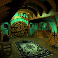 Hobbit house indoors - a very stylized interior for an earth sheltered house Hobbit Door, The Hobbit, Hobbit Bilbo, Bilbo Baggins, Gandalf, Hobbit House Interior, Casa Dos Hobbits, Earthship Home, The Doors