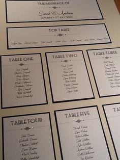sized Art Deco Style Wedding Table Plan - Handmade Personalised on Etsy, 1920s Wedding, Art Deco Wedding, Trendy Wedding, Diy Wedding, 1920s Party, Wedding Ideas, Wedding Decorations, Wedding Reception Seating, Wedding Stationary