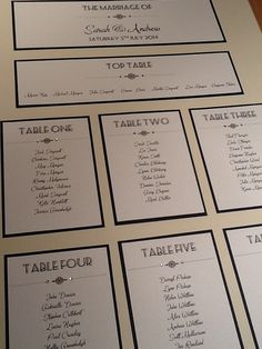 A2 sized Art Deco Style Wedding Table Plan - Handmade Personalised on Etsy, £28.95