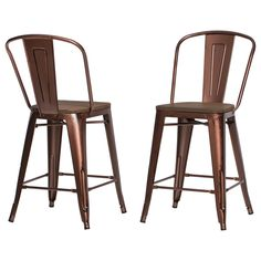 Add eclectic appeal to your kitchen or bar with this set of Tabouret bistro counter stools. Each of the two stools in this set is made from 100 percent steel with a solid wood seat for long-lasting du
