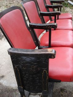 Vintage theater seats. I need these for the kids playroom. Movie themed room.