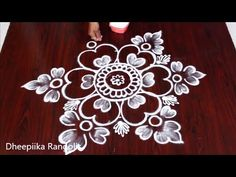 Beautifull flower Rangoli Design with Dots Simple Rangoli Border Designs, Rangoli Simple, Indian Rangoli Designs, Rangoli Designs Latest, Rangoli Designs Flower, Free Hand Rangoli Design, Small Rangoli Design, Rangoli Patterns, Rangoli Designs With Dots