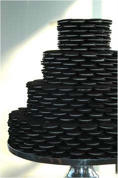 Oreo 'cake'...groom's cake or smaller version as centerpieces for black and white wedding?