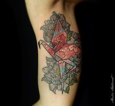 Even origami flamingos are pink! (Tattoo by Mulie Addlecoat) #InkedMagazine