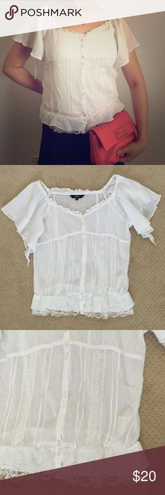 blouse with white lace Button up white lace blouse. Tops Blouses