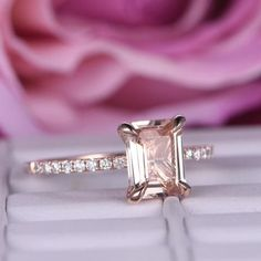 Emerald Cut Morganite Engagement Ring Pave Diamond Wedding 14K Rose Gold 6x8mm