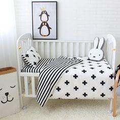 7e2f4049f584d 3Pcs Baby Bedding Set Cotton Crib Sets Black White Price  48.58  amp  FREE  Shipping