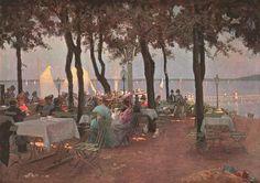 """""""Sommernachmittag am Müggelsee"""" (Szene in einem Gartenlokal am Seeufer). Gemälde von C.A. Brendel, vor 1908."""