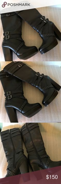 Harley Davidson Black leather boots. Beautiful black leather high heel with platform woman's Harley Davidson boots in excellent condition only worn 1 time. Has inside zipper for easy on and off and buckle and stud embellishments. Woman's size 9M US. Harley-Davidson Shoes Combat & Moto Boots