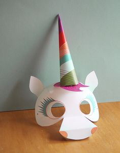 Perfect last minute costume printable - just add white clothes and a scarf around your waist for the tail! - Unique Unicorn Mask halloween printable | Smallful