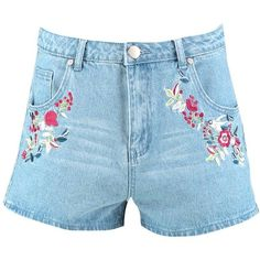 Boohoo Fleur Floral Embroidery Denim Shorts   Boohoo ($21) ❤ liked on Polyvore featuring shorts, culottes shorts, micro shorts, micro jean shorts, sequined shorts and short jean shorts