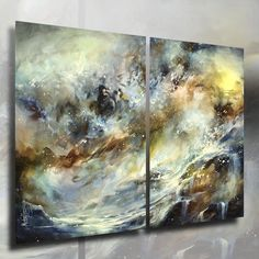 """Original Abstract Design. A two piece canvas original painting measuring 36"""" high x 48"""" wide. Professional quality materials were used in the creation of this art. The canvas is Gallery wrapped acid free cotton, the sides are staple free and have been painted so no decorative framing is needed to displaythem. 