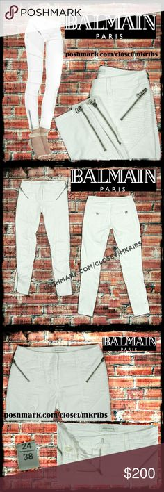 Balmain biker moto jeans pants Super sexy white Biker pants from Balmain-autgentic!!! Excellent condition. Missing back exterior logo tag. ABSOLUTELY NO TRADES PLEASE! REASONABLE OFFERS WELCOME THROUGH OFFER FEATURE ONLY PLEASE!    measurements to be added Balmain Jeans