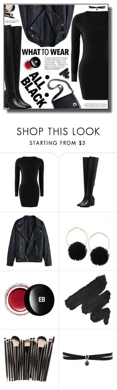 """""""All Black style"""" by yexyka ❤ liked on Polyvore featuring Avenue, Edward Bess, NYX and Fallon"""