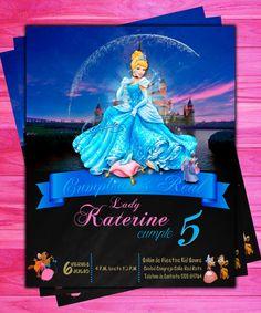 Invitación de Cumpleaños Disney Princesa por oscarsitosroom en Etsy