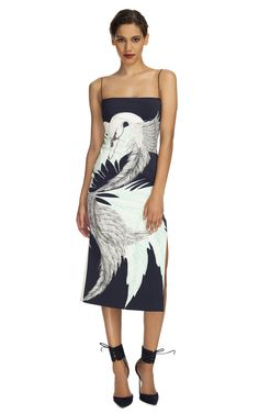 EXCLUSIVELY ON M'O: Wes Gordon Ink Swan Print Scuba Cami Sheath Dress that Katy Perry wore!