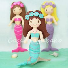 Felt Mermaid Doll Pattern DIY Doll Tutorial PDF by CasaMagubako