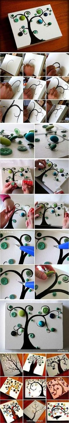 DIY Button tree - cute, and easy, don't throw away your old coat buttons, and make a small and cute tree! Button Art, Button Crafts, Button Canvas, Crafts To Do, Arts And Crafts, Cuadros Diy, Art Projects, Projects To Try, Art Diy