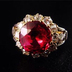 Simply stunning synthetic Ruby & Diamond Ring. Email info@wharfedaleantiques.com for details #antiques #Ruby #diamonds #happysaturday
