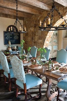 Tuscan Style Kitchen Table and Chair. Tuscan Style Kitchen Table and Chair. Beautiful Mission Style Dining Room In This Tuscan Home Dining Room Blue, Dining Room Design, Dining Area, Tuscan Dining Rooms, Outdoor Dining, Dining Table, Home Design, Interior Design, Design Ideas