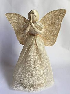 Angel in natural color, with Gold colored belt, H ~ 30 cm inch) Christmas Angel Crafts, Clear Christmas Ornaments, Art Christmas Gifts, Christmas Topper, Burlap Crafts, Fabric Crafts, Decoupage Tins, Bedroom Crafts, Boutique Deco
