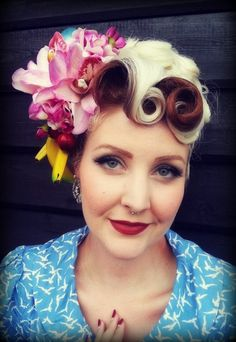 Pin Up/Vintage/Rockabilly Blue and Pink Banana Cherry Tropical Hair Flower Fruit Piece. £35.00, via Etsy.