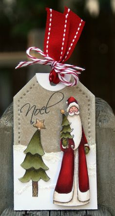 """Sharing a tag I made featuring the """"Seasons Greetings"""" stamp set by There She Goes Clear stamps  http://paperperfectdesigns.blogspot.com/2013/07/christmas-in-july-noel-tag.html  TFL! Kim"""
