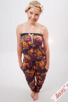"""Jumpsuit """"Mara"""" lang,  Chiffon Bau Sommerblumen von mydearlove® - shop auf DaWanda.com"""