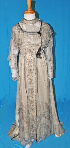 Edwardian FORMAL SILVERY BEADED EVENING GOWN DRESS MUSEUM DE-ACCESSIONED