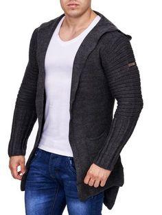 Men Stylish Open Hoodie Sweater - Dark Gray
