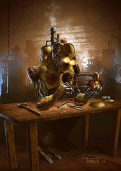 Steampunk Tendencies | New illustration by Mike Penn   #Digitalart #Robot #Steampunk