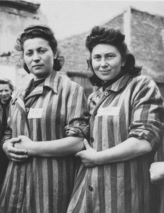 Portrait of two female survivors at the newly liberated Lenzing concentration camp.  Pictured are Cesie Birnbaum (born 1922) from Poland and Milanie Herz (born 1920) in Slovakia. Both women had previously been incarcerated in Auschwitz.