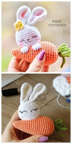 Crochet Carrot Bunny Amigurumi Free Patterns The Effective Pictures We Offer You About crochet crafts A quality picture can tell you many things. Crochet Easter, Easter Crochet Patterns, Crochet Bunny Pattern, Crochet Amigurumi Free Patterns, Cute Crochet, Crochet Crafts, Crochet Dolls, Crochet Projects, Crochet Keychain Pattern