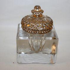 EAPG Antique Inkwell Gold Enameled Pressed Glass Lid Mint   eBay
